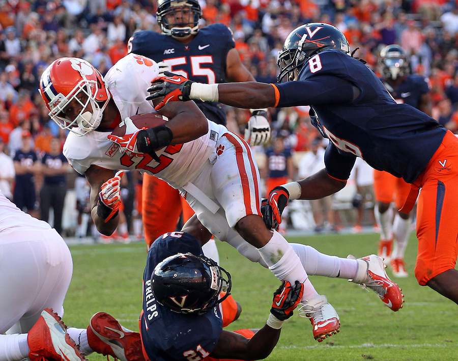 Clemson running back Roderick McDowell (25) handles the ball during and NCAA football game at Scott Stadium in Charlottesville, VA. Clemson defeated Virginia 59-10. Photo/Andrew Shurtleff