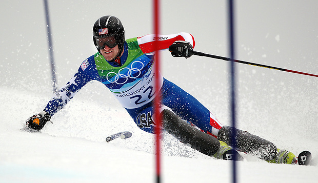 USA's Jimmy Cochran looks ahead to his next gate during his second run in the men's slalom at the XXI Olympic Winter Games Saturday, February 27, 2010 in Whistler, British Columbia