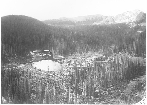 Long view, looking southeast, of Floresta mine complex from south.  There are many drop-bottom gondolas, both loaded and empty, on the D&amp;RGW sidings along with a couple of box cars.<br /> D&amp;RG  Floresta, CO