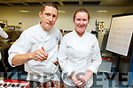 Dan Brown (IT Tralee) and Helena Minahane from Skellig Chocolates at the Pastry Chef Erik Van der Veken's latest innovations and techniques in modern patisserie to leading pastry chefs from Kerry at the I T Tralee on Tuesday.
