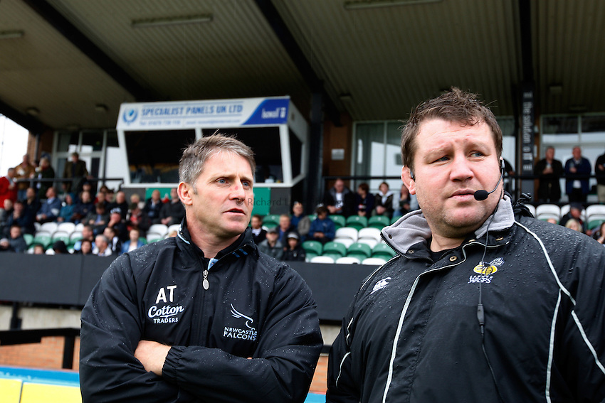 Photo: Richard Lane/Richard Lane Photography. Newcastle Falcons v London Wasps. Aviva Premiership. 02/10/2011. Directors of Rugby, Alan Tait of Falcons and Dai Young of Wasps.