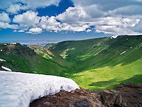 Snow bank and Keiger Gorge. Steens Mountain Wilderness, Oregon