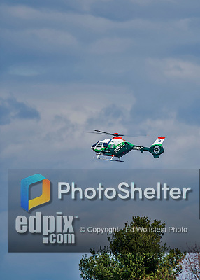 18 April 2015: A Dartmouth-Hitchcock Advanced Response Team Medical Emergency Eurocopter Helicopter approaches the University of Vermont Medical Center during a Men's Lacrosse game between the University of Hartford Hawks and the University of Vermont Catamounts at Virtue Field in Burlington, Vermont. The Cats defeated the Hawks 14-11 in the final home game of the 2015 season. Mandatory Credit: Ed Wolfstein Photo *** RAW (NEF) Image File Available ***