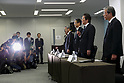 Akira Takeuchi (second from right) president of Mitsubishi Materials Corp. speaks during a news conference on November 24, 2017, Tokyo, Japan. Takeuchi answered questions from reporters after the company admitted that three of its subsidiaries (Mitsubishi Cable Industries Ltd., Mitsubishi Shindoh Co. and Mitsubishi Aluminum Co.) had falsified specification data for products supplied to the aerospace, automotive, electric power and defense industries. (Photo by Rodrigo Reyes Marin/AFLO)
