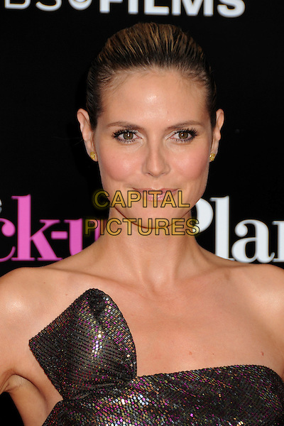 "HEIDI KLUM.""The Back-up Plan"" Los Angeles Premiere held at the Regency Village Theatre, Westwood, California, USA,.21st April 2010..arrivals portrait headshot hair scarped up back make-up beauty strapless brown shimmery shiny sparkly bronze gold pink purple sequined sequin green khaki .CAP/ADM/BP.©Byron Purvis/AdMedia/Capital Pictures."