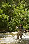 Man casting a fly fishing rod along the Rio Hondo near Taos, New Mexico