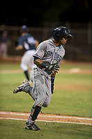 AZL Padres 1 shortstop Reinaldo Ilarraza (1) hustles down the first base line during an Arizona League game against the AZL Padres 2 at Peoria Sports Complex on July 14, 2018 in Peoria, Arizona. The AZL Padres 1 defeated the AZL Padres 2 4-0. (Zachary Lucy/Four Seam Images)