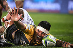 Vaea Fifita of the Hurricanes celebrates scoring a try during the Super Rugby quarter-finals match between the Sharks from South Africa and Wellington Hurricanes at Westpac Stadium in Wellington on July 23, 2016. Photo: Martin Hunter / lintottphoto.co.nz