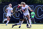 23 October 2016: Notre Dame's Karin Muya (ENG) (left) and Wake Forest's Reci Smith (right). The Wake Forest University Demon Deacons hosted the University of Notre Dame Fighting Irish at Spry Stadium in Winston-Salem, North Carolina in a 2016 NCAA Division I Women's Soccer match. Notre Dame won the game 1-0.