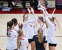 STANFORD, CA - November 4, 2018: Holly Campbell, Meghan McClure, Kathryn Plummer, Morgan Hentz, Kate Formico, Audriana Fitzmorris, Tami Alade at Maples Pavilion. No. 2 Stanford Cardinal defeated the Utah Utes 3-0.