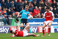 Kyle Dempsey of Fleetwood Town loses ball to Richie Towell of Rotherham Unitedmduring the Sky Bet League 1 match between Rotherham United and Fleetwood Town at the New York Stadium, Rotherham, England on 7 April 2018. Photo by Leila Coker.
