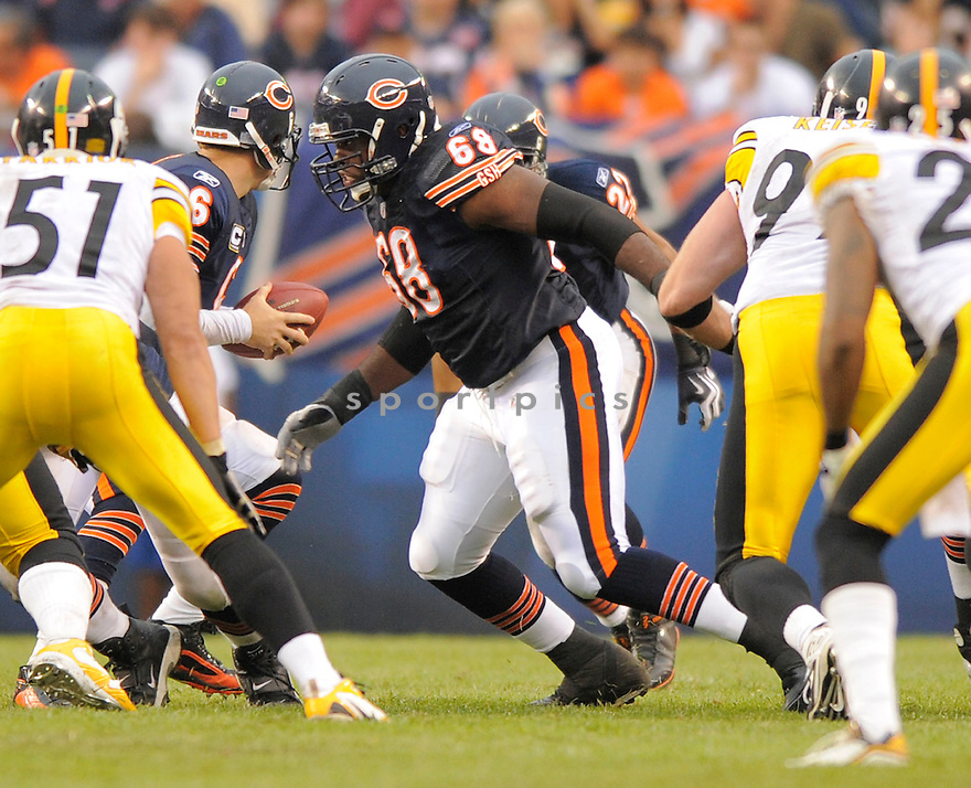 FRANK OMIYALE,of the Chicago Bears, during the Bears game against the Pittsburgh Steelers  on September 20, 2009 in Chicago, IL  The Bears beat the Steelers 17-14.