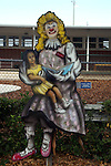 Free standing painting of Daffy Dilly in front of the elementary school in Lake Placid