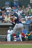 Salem Red Sox infielder Santiago Espinal (3) at bat during a game against the Myrtle Beach Pelicans at Ticketreturn.com Field at Pelicans Ballpark on June 8, 2018 in Myrtle Beach, South Carolina. Myrtle Beach defeated Salem 5-4. (Robert Gurganus/Four Seam Images)