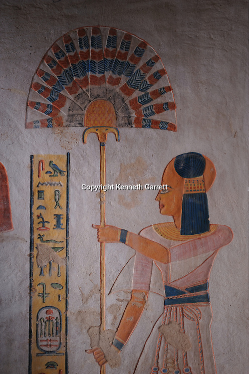 Zahi Hawass Secret Egypt Travel Guide; Egypt; archaeology; Luxor; West Bank; Valley of the Queens Tomb of Kha-em-Waset, son of Ramses III followed by young son, New Kingdom