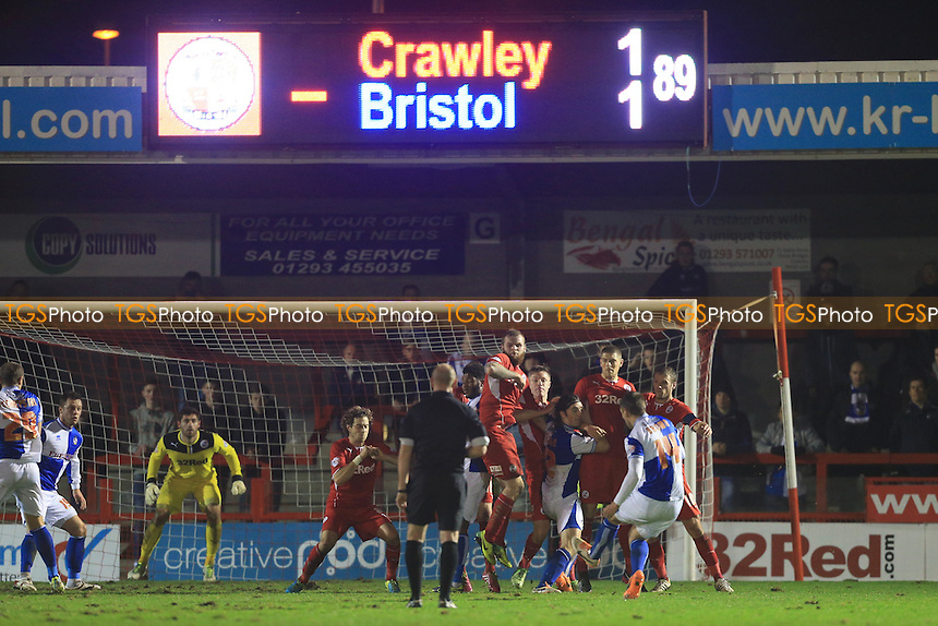 Bristol Rovers take a free kick late on - Crawley Town vs Bristol Rovers - FA Challenge Cup 2nd Round Football at the Broadwood Stadium, Crawley, West Sussex - 08/01/14 - MANDATORY CREDIT: Simon Roe/TGSPHOTO - Self billing applies where appropriate - 0845 094 6026 - contact@tgsphoto.co.uk - NO UNPAID USE