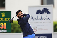 Santiago Tarrio Ben (ESP) tees off the 1st tee during Saturday's rain delayed Round 2 of the Andalucia Valderrama Masters 2018 hosted by the Sergio Foundation, held at Real Golf de Valderrama, Sotogrande, San Roque, Spain. 20th October 2018.<br /> Picture: Eoin Clarke | Golffile<br /> <br /> <br /> All photos usage must carry mandatory copyright credit (&copy; Golffile | Eoin Clarke)