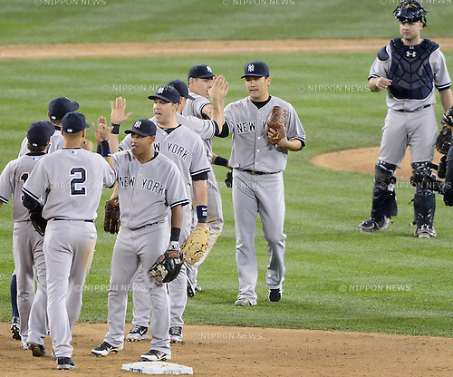 Masahiro Tanaka (Yankees), JUNE 11, 2014 - MLB : Pitcher Masahiro Tanaka of the New York Yankees celebrates after winning the Major League Baseball game against the Seattle Mariners at Safeco Field in Seattle, Washington, United States. (Photo by AFLO)