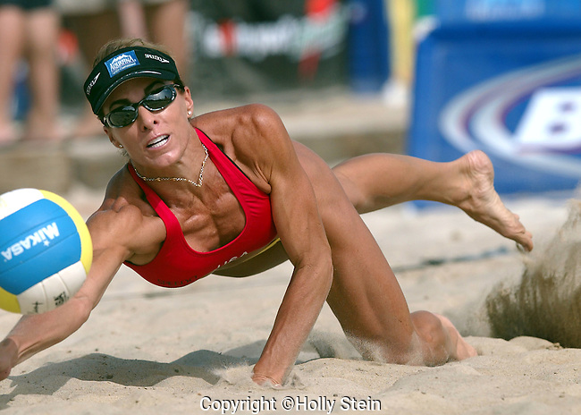 Holly McPeak digs the ball during the AVP Carson Open.