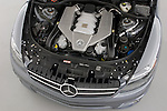 High overhead angle view of a 2008 Mercedes Benz CL63 AMG Coupe engine