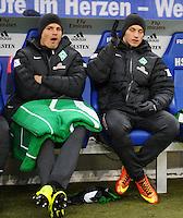 FUSSBALL   1. BUNDESLIGA   SAISON 2012/2013    19. SPIELTAG Hamburger SV - SV Werder Bremen                          27.01.2013 Sebastian Proedl (li) und Marko Arnautovic (re, beide SV Werder Bremen) sitzen auf der Ersatzbak