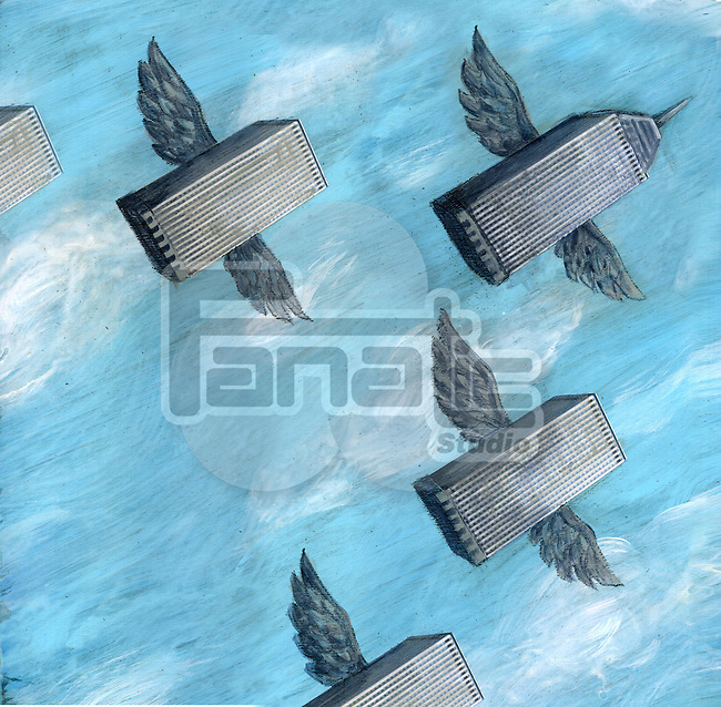 Conceptual shot of office building flying together representing business migration