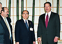 Raul Estrada (ARG), Hiroshi Oki and Al Gore (Vice President of the United States) on December 9, 1997 at the Kyoto International Conference Hall during the COP3 climate negotiations. (Photo by Natsuki Sakai/AFLO)