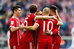 10.03.2018, Allianz Arena, Muenchen, GER, 1.FBL,  FC Bayern Muenchen vs. Hamburger SV, im Bild Jubel nach dem Tor zum 4-0 Arjen Robben (FCB #10) mit Robert Lewandowski (FCB #9) Thomas Mueller (FCB #25) Franck Ribery (FCB #7) <br /> <br />  Foto &copy; nordphoto / Straubmeier