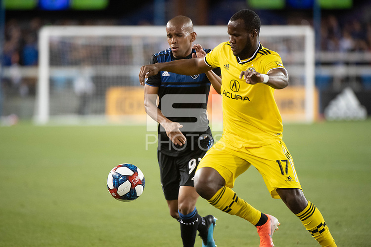 San Jose, CA - Saturday August 03, 2019: Judson #93, Romario Williams #17 in a Major League Soccer (MLS) match between the San Jose Earthquakes and the Columbus Crew at Avaya Stadium.