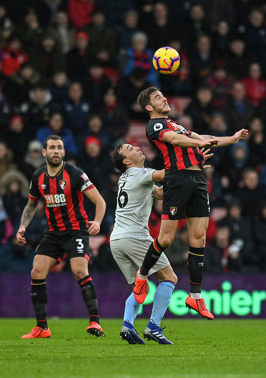 West Ham United's Mark Noble (left) battles with Bournemouth's Dan Gosling (right) <br /> <br /> Photographer David Horton/CameraSport<br /> <br /> The Premier League - Bournemouth v West Ham United - Saturday 19 January 2019 - Vitality Stadium - Bournemouth<br /> <br /> World Copyright &copy; 2019 CameraSport. All rights reserved. 43 Linden Ave. Countesthorpe. Leicester. England. LE8 5PG - Tel: +44 (0) 116 277 4147 - admin@camerasport.com - www.camerasport.com