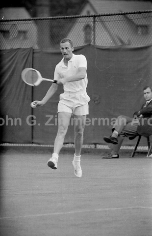 Australian tennis player Neale Fraser in action during 1956 U.S. National Championships. West Side Tennis Club, Forest Hills, NY. Photograph by John G. Zimmerman.