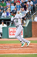 Southern Divisions shortstop Manuel Geraldo (26) of the Augusta GreenJackets swings at a pitch during the South Atlantic League All Star Game at First National Bank Field on June 19, 2018 in Greensboro, North Carolina. The game Southern Division defeated the Northern Division 9-5. (Tony Farlow/Four Seam Images)