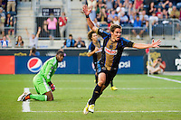 Chandler Hoffman (12) of the Philadelphia Union celebrates a Union goal. The Chicago Fire defeated the Philadelphia Union 3-1 during a Major League Soccer (MLS) match at PPL Park in Chester, PA, on August 12, 2012.