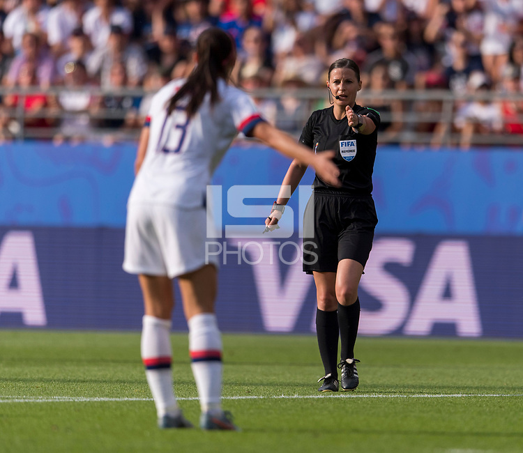 REIMS,  - JUNE 24: The referee motions to the spot during a game between NT v Spain and  at Stade Auguste Delaune on June 24, 2019 in Reims, France.