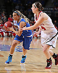 SIOUX FALLS, SD - MARCH 7: Haley Seibert #10 of Fort Wayne drives against defender  Lisa Loeffler #44 from the University of South Dakota in the second half of their first round Summit League Championship Tournament game Saturday afternoon at the Denny Sanford Premier Center in Sioux Falls, SD. (Photo by Dick Carlson/Inertia)