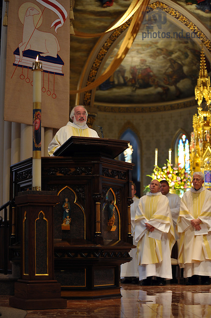 Rev. James McDonald, C.S.C. gives the homily at Mass in honor of the dedication of the Eck Hall of Law...Photo by Matt Cashore/University of Notre Dame