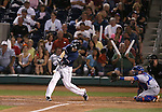 Reno Aces' Danny Dorn hits a two-run homer against the Las Vegas 51s in Reno, Nev., on Saturday, Sept. 6, 2014. The Reno Aces defeated the Las Vegas 51s, 7-3, to win the Pacific Conference Championship Series. <br /> Photo by Cathleen Allison