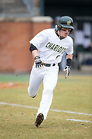 Brett Netzer (9) of the Charlotte 49ers hustles down the first base line against the Akron Zips at Hayes Stadium on February 22, 2015 in Charlotte, North Carolina.  The Zips defeated the 49ers 5-4.  (Brian Westerholt/Four Seam Images)
