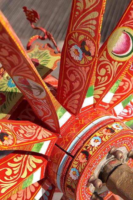 Sicilian folk art on a wooden cart