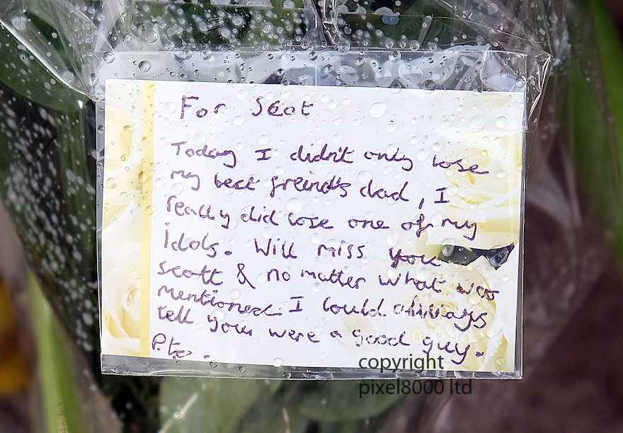 Pic shows: Cards and flowers of at the scene of death of Scot Young.<br /> <br /> Also Death scene of Scot Young - ex husband of Michelle Young.<br /> <br /> Grieving friends and mourners left flowers and notes today. 11.12.14<br /> <br /> <br /> <br /> <br /> Pic by Gavin Rodgers/Pixel 8000 Ltd