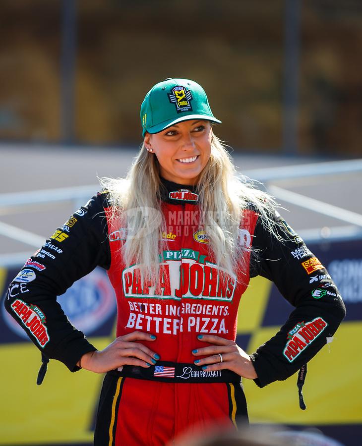 Jul 30, 2017; Sonoma, CA, USA; NHRA top fuel driver Leah Pritchett during the Sonoma Nationals at Sonoma Raceway. Mandatory Credit: Mark J. Rebilas-USA TODAY Sports