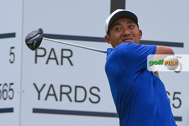 C.T. Pan (TAI) watches his tee shot on 1 during round 1 of the 2019 Charles Schwab Challenge, Colonial Country Club, Ft. Worth, Texas,  USA. 5/23/2019.<br /> Picture: Golffile | Ken Murray<br /> <br /> All photo usage must carry mandatory copyright credit (© Golffile | Ken Murray)