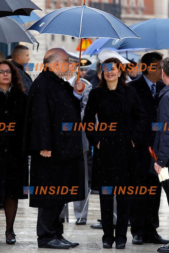 Laura Boldrini<br /> Roma 17-03-2015 Altare della Patria. Deposizione di una corona di fiori per la festa dell'Unita' Nazionale.<br /> Photo Samantha Zucchi Insidefoto
