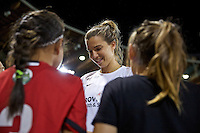 Portland, Oregon - Wednesday September 7, 2016: Portland Thorns FC midfielder Tobin Heath (17) meets a group of young fans after a regular season National Women's Soccer League (NWSL) match at Providence Park.