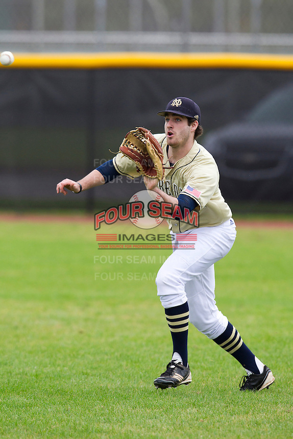 Notre Dame Fighting Irish outfielder Charlie Markson #20 during warmups before a game against the Illinois Fighting Illini at the Big Ten/Big East Challenge at Walter Fuller Complex on February 17, 2012 in St. Petersburg, Florida.  (Mike Janes/Four Seam Images)