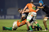 Henry Thomas of Bath Rugby is double-tackled. European Rugby Champions Cup match, between Benetton Rugby and Bath Rugby on January 20, 2018 at the Municipal Stadium of Monigo in Treviso, Italy. Photo by: Patrick Khachfe / Onside Images