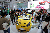 Chery Faira from Mercedes-Benz Smart at the Auto China 2008 in Beijing. The car show has attracted all the world's major auto markers. Vehicle production and sales both surged more than 20 percent to a record 8.8 million units in China last year. Analysts forecast that both China's auto output and sales will continue to expand at double-digit rates in 2008 to 10 million as the economy grows rapidly and the government tries to encourage people to spend money..24 Apr 2008