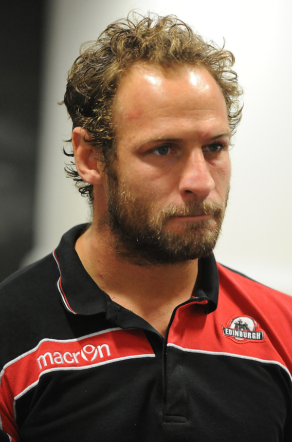 Edinburgh&rsquo;s Andries Strauss during the post match interview <br /> <br /> Photographer Ashley Crowden/CameraSport<br /> <br /> Rugby Union - Guinness PRO12 - Ospreys v Edinburgh Rugby - Sunday 21st September 2014 - The Liberty Stadium - Swansea<br /> <br /> &copy; CameraSport - 43 Linden Ave. Countesthorpe. Leicester. England. LE8 5PG - Tel: +44 (0) 116 277 4147 - admin@camerasport.com - www.camerasport.com