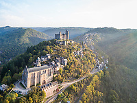 France, Aveyron, Najac, labelled Les Plus Beaux Villages de France (The Most Beautiful Villages of France), medieval village and Najac castle, former royal fortress (aerial view) // France, Aveyron (12), Najac, labellisé Les Plus Beaux Villages de France, village médiéval et château de Najac, ancienne forteresse royale (vue aérienne)