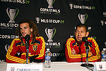 20 November 2009: Kyle Beckerman (left) and Nick Rimando (right) answer questions at the press conference. Real Salt Lake held a training session and press conference at Qwest Field in Seattle, Washington in preparation for playing the Los Angeles Galaxy in Major League Soccer's championship game, MLS Cup 2009, two days later.